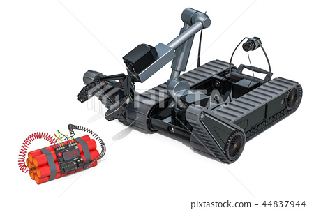 Bomb disposal robot with bomb, 3D rendering 44837944