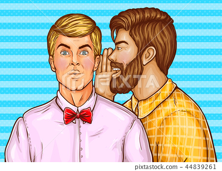 pop art men whisper about sales 44839261