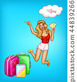 pop art girl with tickets, suitcases 44839266