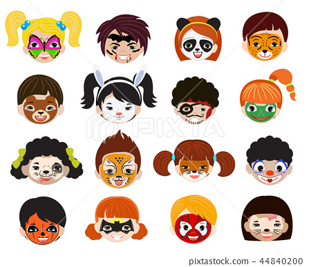 Face paint kids vector children portrait with facial painted makeup and girl boy character 44840200