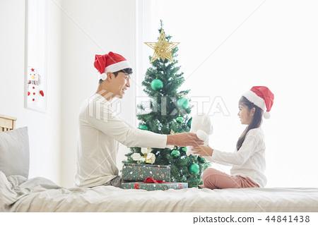 聖誕節,爸爸,女兒,家庭,韓國人 44841438
