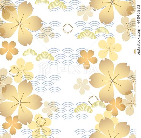 Gold cherry blossom pattern vector. Flower element 44845883
