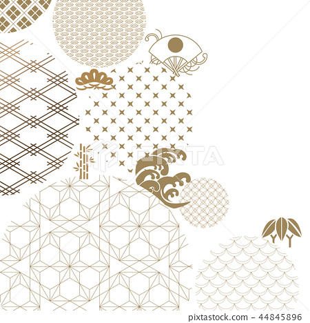 Japanese geometric and icons pattern vector. Gold  44845896