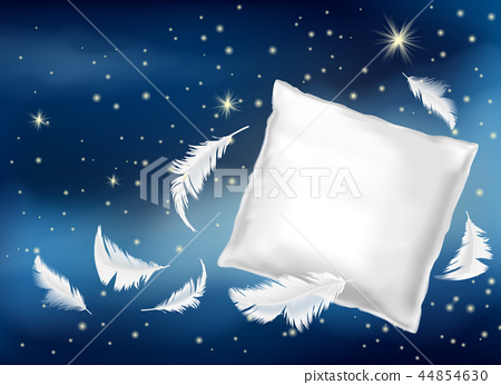3d realistic white pillow with feathers 44854630