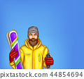 Pop art skier man sketch illustration of hipster adult boy bearded in skiing jacket with skies 44854694