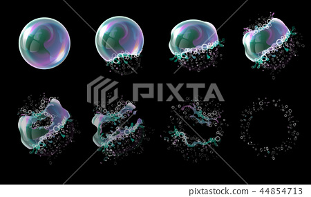 3d soap transparent bubble stages of the explosion. Water spheres, realistic balls, soapy balloons 44854713
