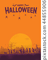 Silhouette of children playing on Halloween night 44855906