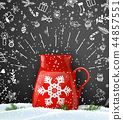 Christmas background with red cup of tea 44857551
