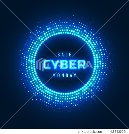 Cyber Monday concept banner with neon glowing halftone 44858096