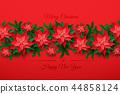 Vector Red Christmas Poinsettia Flower 44858124