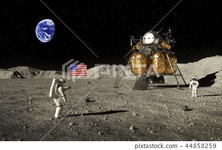 Astronauts Set An American Flag On The Moon 44858259