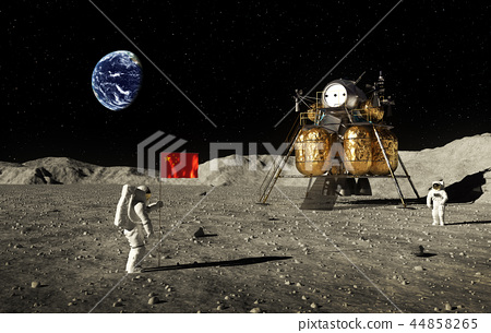 Astronauts Set An Chinese Flag On The Moon 44858265
