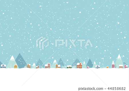 The town in the snow falling place flat color  44858682