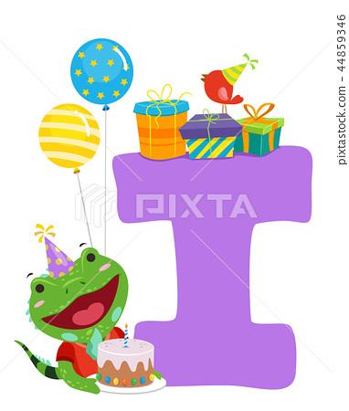 Iguana Birthday Alphabet Illustration 44859346