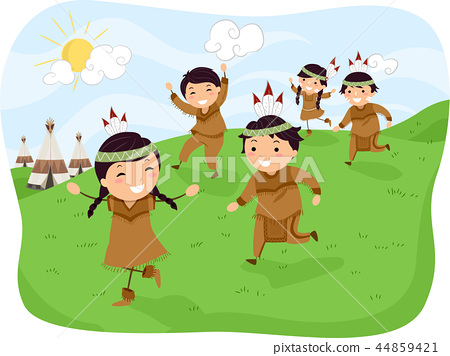Stickman Kids Indian Running Illustration 44859421
