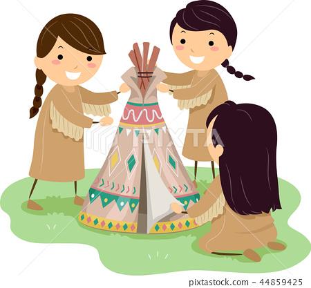 Stickman Kids Girls Make Mini Tipi Illustration 44859425