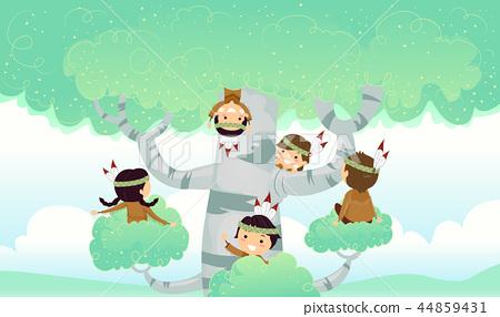 Stickman Kids Birch Tree Play Illustration 44859431