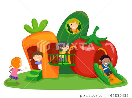 Stickman Kids Vegetable Playground Illustration 44859435