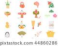 新年賀卡材料(水彩風格) 44860286