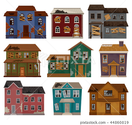 Flat vector set of abandoned houses with broken roof, boarded up windows and doors. Two-storey 44860819