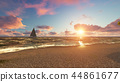 Beautiful sea beach at sunset. 3D Rendering 44861677