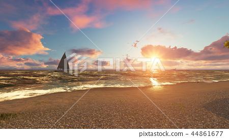 Beautiful sea beach at sunset. 3D Rendering 44861677