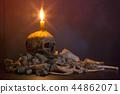 Candlestick skull and bones on dark background 44862071