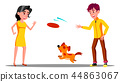 Teenager Playing With Dog In Park Vector. Isolated Illustration 44863067