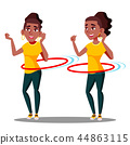 Young Athletic Black Afro American Girl Rotates Hula Hoop Vector. Isolated Illustration 44863115