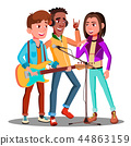 Teen Rock Band Playing Music On Guitar Vector. Isolated Illustration 44863159
