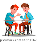 Two Young Strong Men Compete In Arm Wrestling Vector. Isolated Illustration 44863162
