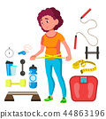 Young Fitness Girl With Measuring Tape Around Her Waist Vector. Isolated Illustration 44863196