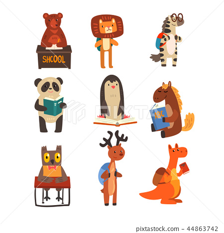 Animals studying and reading books set, cute animals cartoon characters, school education and