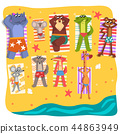 Wild animals sunbathing on the beach, cute animals cartoon characters relaxing on the seashore at 44863949