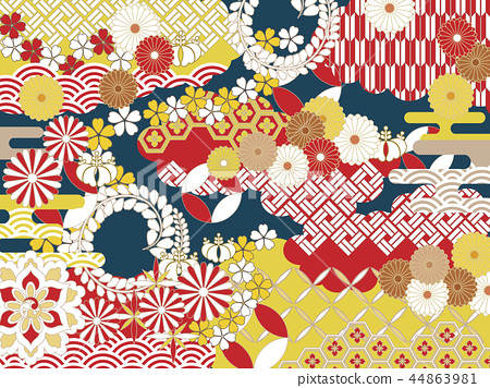 Pop Japanese pattern background material 44863981