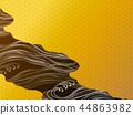 日本式波浪和金背景 44863982