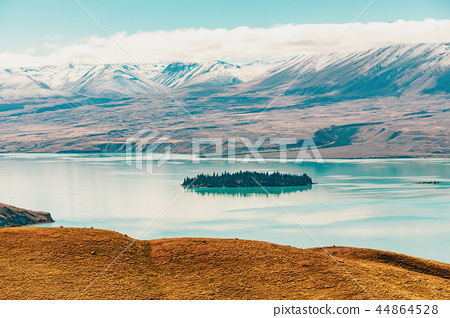 View of Lake Tekapo from Mount John, NZ 44864528