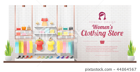 Interior background of modern women clothing store 44864567