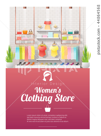 Interior background of modern women clothing store 44864568