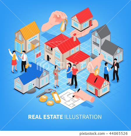 Real Estate Agency Isometric Illustration 44865526