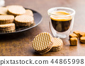 Sweet chocolate wafer biscuits. 44865998