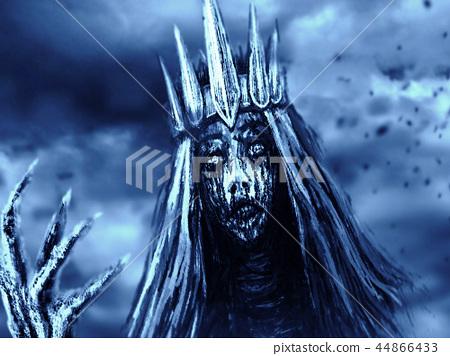 Dark queen with crown pulls bony hand. Blue  44866433