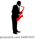 Silhouette of musician playing the saxophone 44867047