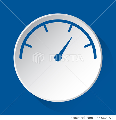 pressure gauge, simple blue icon on white button 44867151