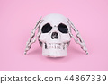 Skull on trendy pastel pink background. 44867339