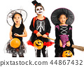 Portrait of happy sisters in Halloween costume  44867432