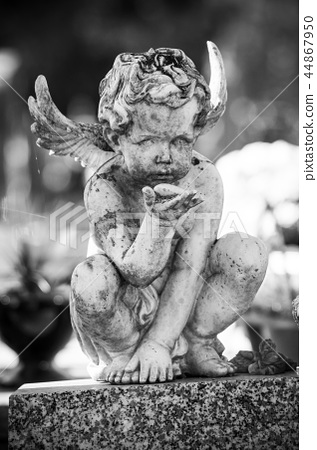Closeup of stoned angel on tomb in cemetery 44867950