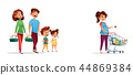 People with shopping carts cartoon illustration 44869384