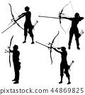 Set silhouette attractive female and male archer 44869825