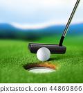 white golf ball near bunker 44869866